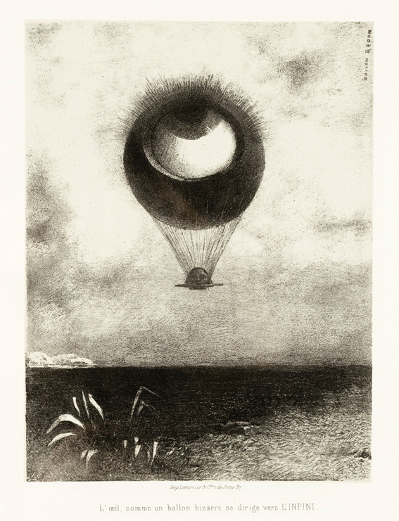 "Odilon Redon, ""L'Oeil comme un ballon bizarre se dirige vers l'infini"", Lithografie 1882, Wallis Foundation Fund in memory of Hal B. Wallis. Quelle: Wikimedia Commons https://commons.wikimedia.org/wiki/File:To_Edgar_Poe_(The_Eye,_Like_a_Strange_Balloon,_Mounts_toward_Infinity)_(A_Edgar_Poe_(L%27oeil,_comme_un_ballon_bizarre_se_dirige_vers_l%27infini))_LACMA_AC1997.14.1.1.jpg?uselang=de, gemeinfrei"