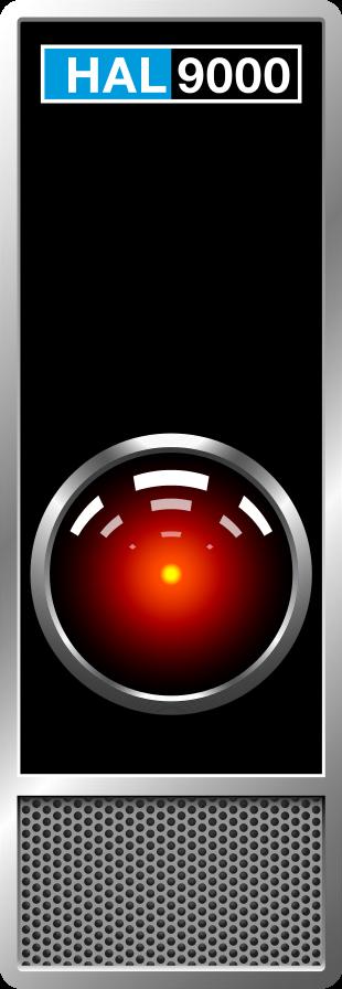 """Eines von HALs 9000 Interfaces mit Kameraauge und Lautsprecher aus Stanley Kubricks Film """"2001 – A Space Odyssey"""". Grafik erstellt von: Grafiker61, 12. Oktober 2012, Quelle: Wikimedia Commons https://commons.wikimedia.org/wiki/File:HAL9000_Case.svg, CC BY-SA 4.0 https://creativecommons.org/licenses/by-sa/4.0/deed.en"""