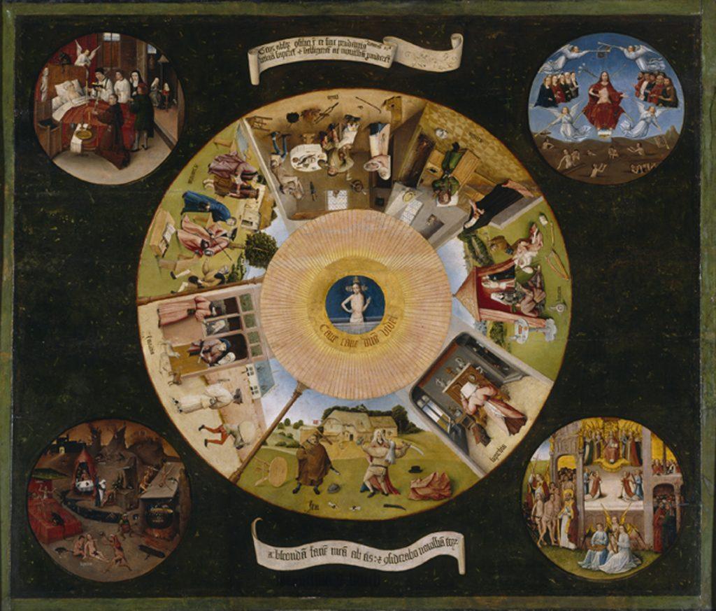 """Schüler des Hieronymos Bosch, """"Die sieben Todsünden und die letzten vier Dinge"""", um 1495-1520, Öl auf Holz, Prado Madrid, gemeinfrei"""