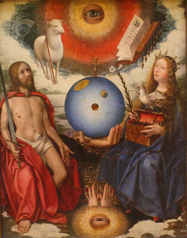 """Jan Provost, """"Une Allégorie Sacrée"""", um 1510, Öl auf Holz, Louvre Paris, gemeinfrei"""