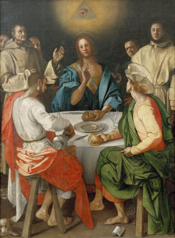 """Jacopo da Pontormo: """"Cena in Emmaus"""", Öl auf Leinwand, Uffizien Florenz, gemeinfrei"""