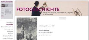 "Aktuelles Heft der ""Fotogeschichte"": AQUATISCHE BILDER"